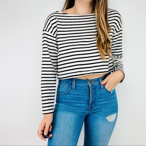 A.L.C. Black & white striped cropped long sleeve